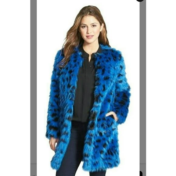 157548836e0a Michael Kors Jackets & Coats | Faux Fur Blue Leopard Coat | Poshmark